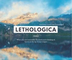 Lethologica is a psychological disorder where in an individual temporarily forgets key words, phrases or names in conversation. The Words, Fancy Words, Weird Words, Pretty Words, Beautiful Words, Cool Words, Unusual Words, Unique Words, Interesting Words