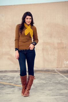 again - brown boots! (and I love this brown and yellow together!)