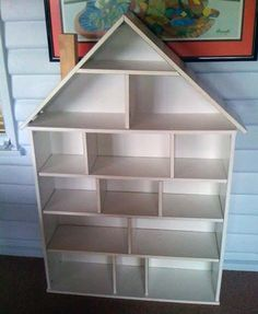 Ikea bookcase doll house~~~Could make one of these to be like a toy chest/ book case.