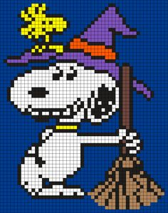 Halloween Snoopy And Woodstock (Square) Perler Bead Pattern / Bead Sprite