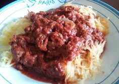 This is one of my favorite paleo recipes. I would cook this once a week if my husband would eat it. Spaghetti Squash with Meat Sauce
