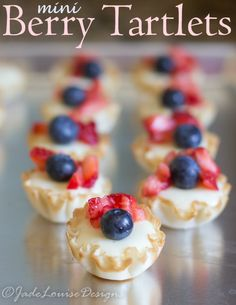 Mini Berry Tartlets Recipe. These are insanely easy to make; but packed with flavor! And very rich. They are the perfect summer dessert! And would be great for the 4th of July parties, an appetizer at a party, or even something to take to a BBQ or potluck!