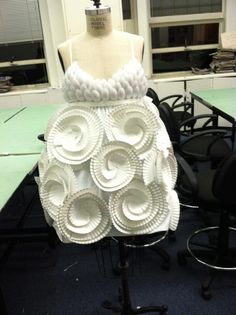 Recycled fashion. I made this dress out of paper plates, spoons, and napkins :)