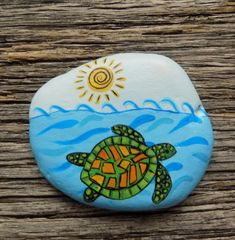 Sea Turtle Painted Rock, Decorative Accent Stone, Paperweight by HeartandSoulbyDeb on Etsy Turtle Painted Rocks, Hand Painted Rocks, Painted Stones, Sea Turtle Painting, Seashell Painting, Rock Painting Ideas Easy, Rock Painting Designs, Stone Crafts, Rock Crafts