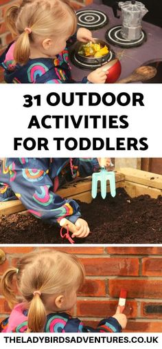 Would you like to spend more time outside with your toddler? Find 31 ideas for outdoor activities for toddlers. Lots of ideas for simple outdoor fun. Outdoor Activities For Toddlers, Outdoor Fun For Kids, Winter Activities For Kids, Infant Activities, Preschool Activities, Toddler Snacks, Toddler Fun, Toddler Drawing, Fun Ideas