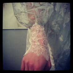 Claire Pettibone 2013 wedding gown sleeve details shot at our Bridal Market booth by   @Guy Toley