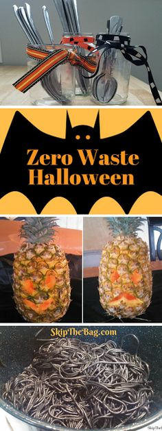 SkipTheBag: Zero Waste Halloween Ideas. Ways to celebrate Halloween in a fun and festive way that doesn't involve a lot of candy or plastic toys. Plus a great list of candy free alternatives to give away!