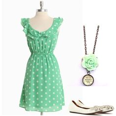 like the dress and the shoes but wouldn't put that necklace with anything with a pattern or mint