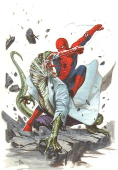 (Spiderman Vs Lizard) By: Gabriele DelOtto Comic Book Artists, Comic Book Characters, Marvel Characters, Comic Artist, Comic Character, Comic Books Art, Marvel Comics, Marvel Dc, Marvel Heroes