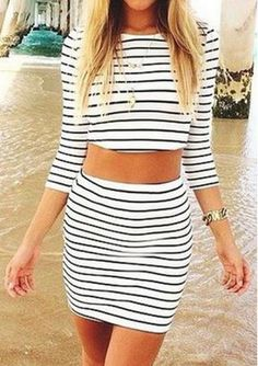 Cheap 2 piece skirt, Buy Quality women sets clothes directly from China 2  piece skirt set Suppliers: 2017 Women Sexy Celeb Bodycon Striped Bandage  Crop Tops ...