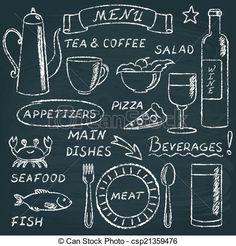 Chalkboard menu elements set 2 vector doodle food by elein on VectorStock® Blackboard Drawing, Blackboard Art, Chalkboard Doodles, Chalkboard Writing, How To Drow, Notebook Doodles, Bar Art, Chalk Drawings, Menu Design