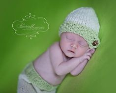 Custom Knit Hat And Knit Baby Pants Set.