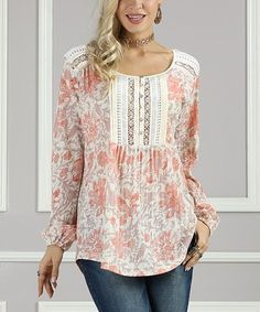 Blooming Dahlia Lace-Yoke Henley - Plus Too #zulily #zulilyfinds