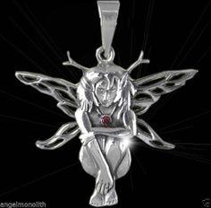 Große Fee Elfe 925 Sterling Silber Anhänger Amulett mit echtem Kristall