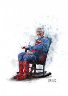 Super Grandpa by Lisa Aisato William Turner, Hug You, Good Morning Images, Funny Art, Rocking Chair, Norway, Gouache, Lisa, Watercolor