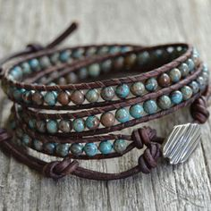 Chan Luu inspired beaded leather bracelet. Boho chic turquoise blue and brown triple wrap bracelet.