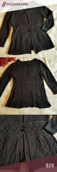 Talbots chunky black sweater Size small. One button. Long sleeve. Chunky knit. Nice and warm. Some wear, but still in great shape. See photo for material composition. Talbots Sweaters