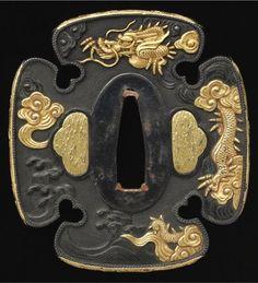 Tsuba (sword guard) by Kaga Goto (Edo period), Japan 雲龍図鐔 加賀後藤