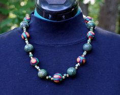"""""""Starry Nights 2"""" necklace.  Polymer clay, stone, and glass beads"""