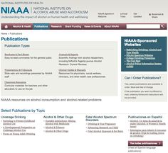 NIAAA, National Institute on Alcohol Abuse and Alcoholism resources on alcohol consumption and alcohol-related problems
