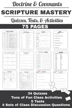 75 pages of Scripture Mastery quizzes, tests and activities. The tests and discussion questions are awesome! Scripture Mastery, Lds Seminary, Doctrine And Covenants, Lds Scriptures, Bible Lessons, The Covenant, Quizzes, How To Memorize Things, How Are You Feeling
