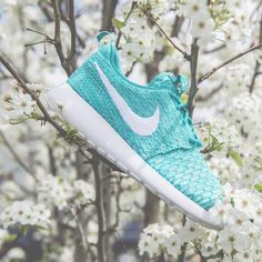 nike kicks roshe running shoes run sneakers beautiful spring blossom blue turquise baby blue white sole Instagram picture of NIKE FOOTWEAR Low-tops & trainers WOMEN on YOOX.COM