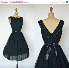 e8e0f349947c Vintage 1960s Cocktail Dress --- Parkland Dallas Midnight Black Chiffon  Party Dress