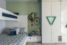Kids room: Do you fancy such fresh and relaxing colour schemes with a playful vibe for your kids? Visit us Photo credit: Phx India Bed Designs, Bedroom Designs, Child Room, Girl Room, Interior Designing, Luxury Interior, Wardrobe Design Bedroom, Relaxing Colors, Beautiful Interior Design