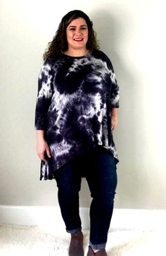 8ff9dba8fa8 Beautiful Black Tie Dye Hi Lo Tunic available in Women s Plus Sizes 1XL-3XL