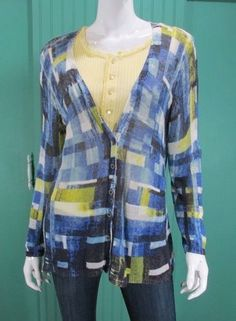 ZoZo Sweater Womens V-Neck Cardigan Geometric Print Blue Yellow XL #ZoZo #Cardigan