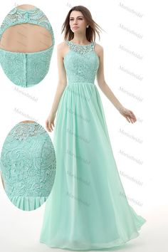 e1202f8d492c Real Image Mint Green Bridesmaid Dresses Jewel Lace And Chiffon Empire Long  Maid Of Honor Dress Evening Formal Prom Gown In Stock US 2 14 Sexy Evening  Dress ...