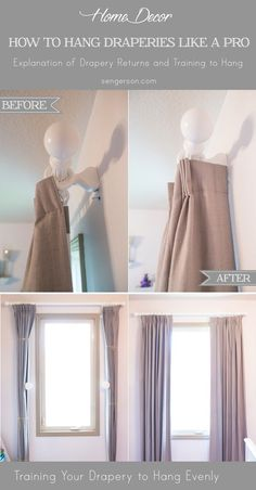 Curtain Hanging Guide Tips.How To Hang Curtains Guide Crate And Barrel. DIY Curtain Rods For Outdoor Porch Curtains See How I . How To Hang Curtains 101 Window Treatments Curtains . Home and Family Curtains And Draperies, Drop Cloth Curtains, Hanging Curtains, Drapes Curtains, How To Hang Curtains, Cafe Curtains, Yellow Curtains, Valances, Velvet Curtains Bedroom