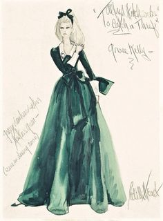 "Edith Head, sketch of Grace Kelly's dress in ""To Catch a Thief"", 1955"