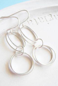 Light and Silver Hoop Earrings