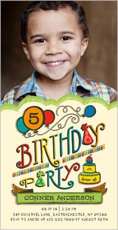 Birthday Balloons Boy Birthday Invitation
