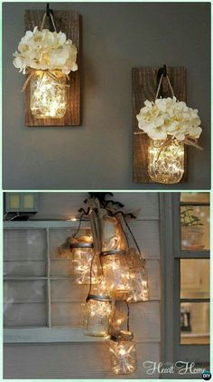 DIY Hanging Mason Jar String Lights Instruction - DIY Christmas Mason Jar Lighting (Diy House Christmas) DIY Christmas Mason Jar Lighting Crafts [Instructions]:different ways to make mason jar lights for mantel, dinning table and wall holiday decoration. Pot Mason, Mason Jar Crafts, Mason Jar Diy, Mason Jar Projects, Rustic Mason Jars, Diy Yankee Candle Jars, Mason Jar Lamp, Diys With Mason Jars, Crafts With Jars