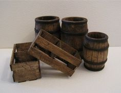 a Set of three  barrels  and two crates, in twelfth scale, a dollshouse…