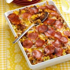 Pizza Noodle Bake Recipe -This family-pleasing casserole from Bernice Knutson of Soldier, Iowa comes together in a snap. It's perfect for an easy weeknight meal and can easily be doubled and frozen for later. Pizza Casserole, Casserole Dishes, Casserole Recipes, Noodle Casserole, Pizza Bake, Pizza Pizza, Think Food, Love Food, Pasta Dishes