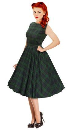 Green and Black Tartan 1950's Rockabilly Vintage style swing dress
