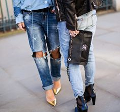Ripped boyfriend jeans + gold pointy heels + mesh leather Chanel purse