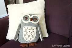 Owl Pillow....from Two Purple Couches