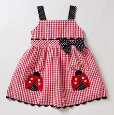 this is for emma and rachael Infant Lady Bug Gingham Dress & Panty - Samara Dresses Baby Outfits, Little Dresses, Little Girl Dresses, Kids Outfits, Girls Dresses, Sewing For Kids, Baby Sewing, Sewing Ideas, Toddler Dress