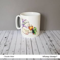 Claudia's Karteria: Glück serviert mit Liebe Tasse | Happiness Served ... Prismacolor, Claudia S, Whimsy Stamps, October, Mugs, Tableware, Happy, Crafts, Boxes