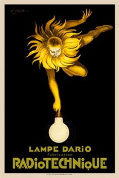 Radio technique poster by Cappiello. Vintage Posters Reproductions. French poster advertising light bulbs features a man personifying the sun reaching down to the bulb. Giclee advertising print. Classic Posters