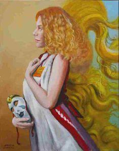 (c) Hans K. Stöckl_Bildnis der Cornelia Kerber, Anmut und Schattenspiel Illustrator, Portrait, Disney Characters, Fictional Characters, Snow White, Disney Princess, Painting, Shadow Play, Oil On Canvas