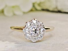 Antique Engagement Ring 0.81ctw H/SI1 European Cut Diamond Daisy Cluster Ring 14K Two Tone Gold Antique Wedding Ring Floral Diamond Ring!