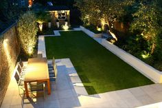 Landscaping Ideas to Glam up Your Backyard Contemporary yard design with artificial lawn, raised beds, and pavers.Contemporary yard design with artificial lawn, raised beds, and pavers.