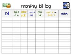 free printable monthly bill payment log shared by pinterest com