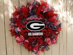 Cool Georgia Bulldog Chevron Print Deco Mesh Wreath!  They can make custom wreaths for any team!
