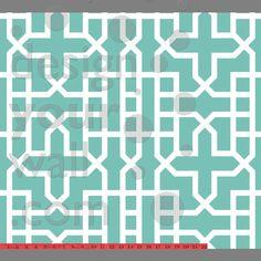 Urban Geometric custom digital wallpaper: Aqua   Custom digital wallpaper and borders